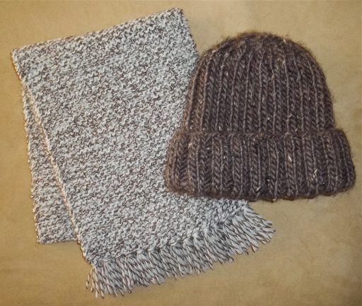 My first two projects using needles instead of a loom.