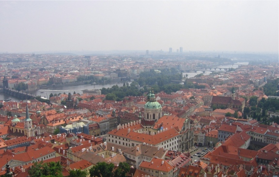 View from one of the spires of St. Vitus Cathedral, Prague, Czech Republic Photo by: c.b.w. 2008